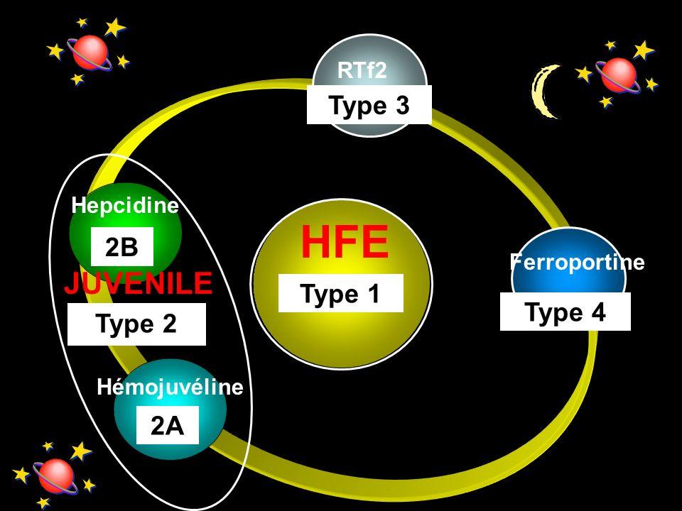 RTf2 Hémojuvéline Hepcidine 2A HFE Type 1 Type 3 Ferroportine Type 4 Type 2 JUVENILE 2B