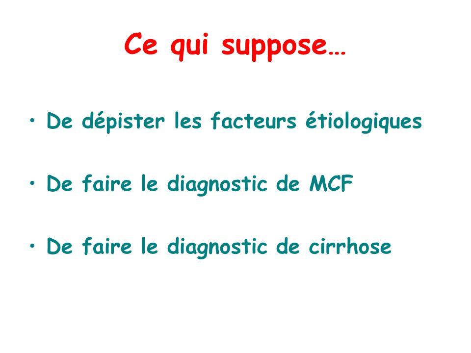 Ce qui suppose… De dépister les facteurs étiologiques De faire le diagnostic de MCF De faire le diagnostic de cirrhose