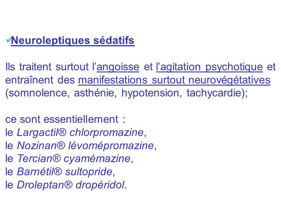 Neuroleptiques sédatifs Ils traitent surtout langoisse et lagitation psychotique et entraînent des manifestations surtout neurovégétatives (somnolence