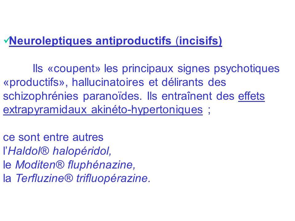 Neuroleptiques antiproductifs (incisifs) Ils «coupent» les principaux signes psychotiques «productifs», hallucinatoires et délirants des schizophrénie