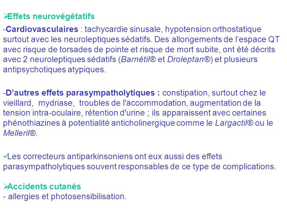 Effets neurovégétatifs -Cardiovasculaires : tachycardie sinusale, hypotension orthostatique surtout avec les neuroleptiques sédatifs. Des allongements