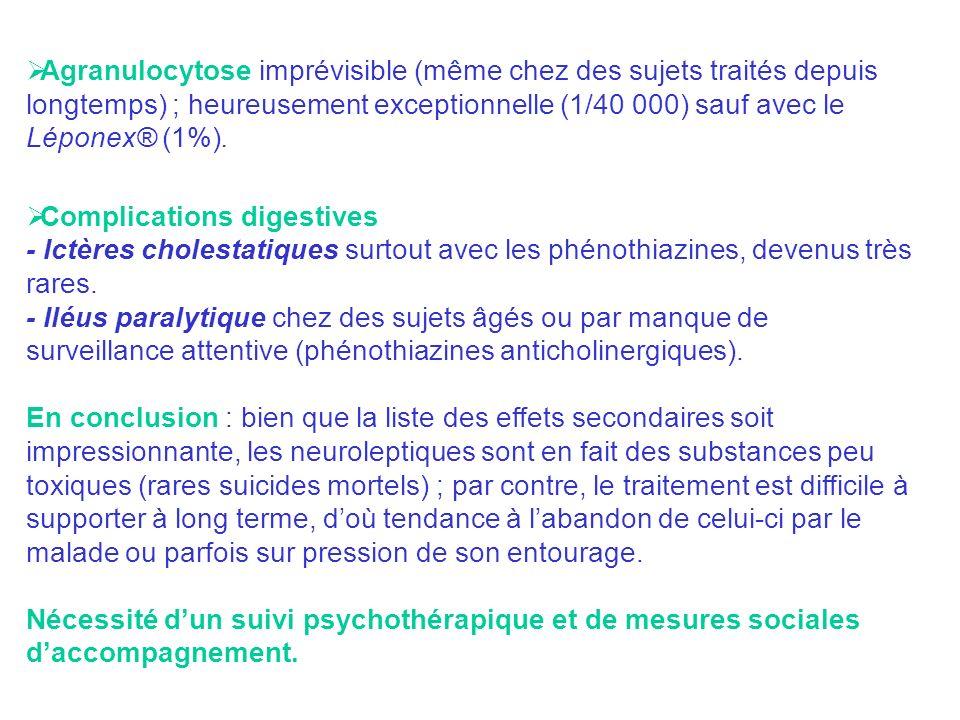 Agranulocytose imprévisible (même chez des sujets traités depuis longtemps) ; heureusement exceptionnelle (1/40 000) sauf avec le Léponex® (1%). Compl