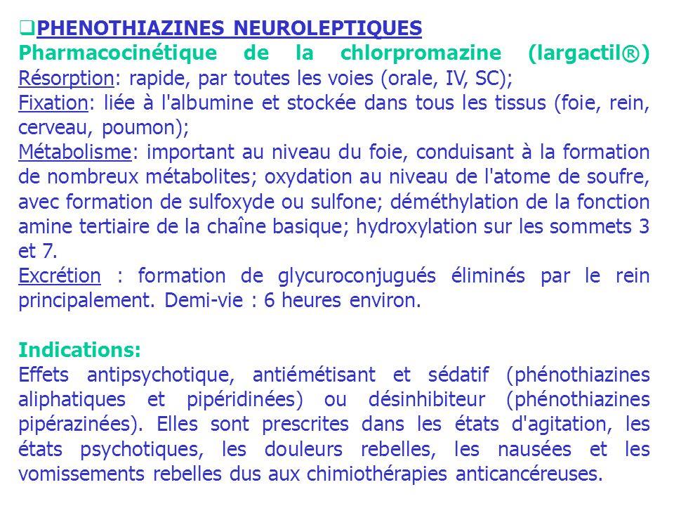 PHENOTHIAZINES NEUROLEPTIQUES Pharmacocinétique de la chlorpromazine (largactil®) Résorption: rapide, par toutes les voies (orale, IV, SC); Fixation: