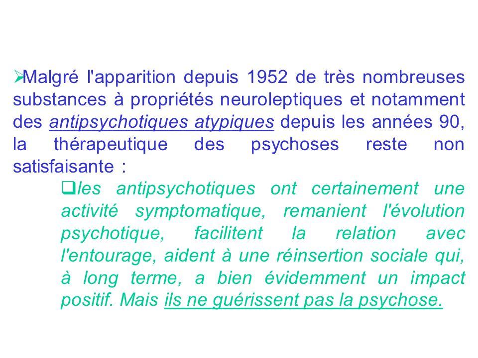 Les antipsychotiques atypiques (Risperdal® rispéridone, Zyprexa® olenzapine) agiraient sur la symptomatologie positive, la symptomatologie négative, voire la symptomatologie affective de la psychose, en induisant moins deffets extrapyramidaux Concernant lactivité des neuroleptiques, on peut distinguer : Une action précoce des neuroleptiques sur langoisse, lagitation, puis au fil des semaines sur les idées délirantes, les hallucinations, la désorganisation psychique.