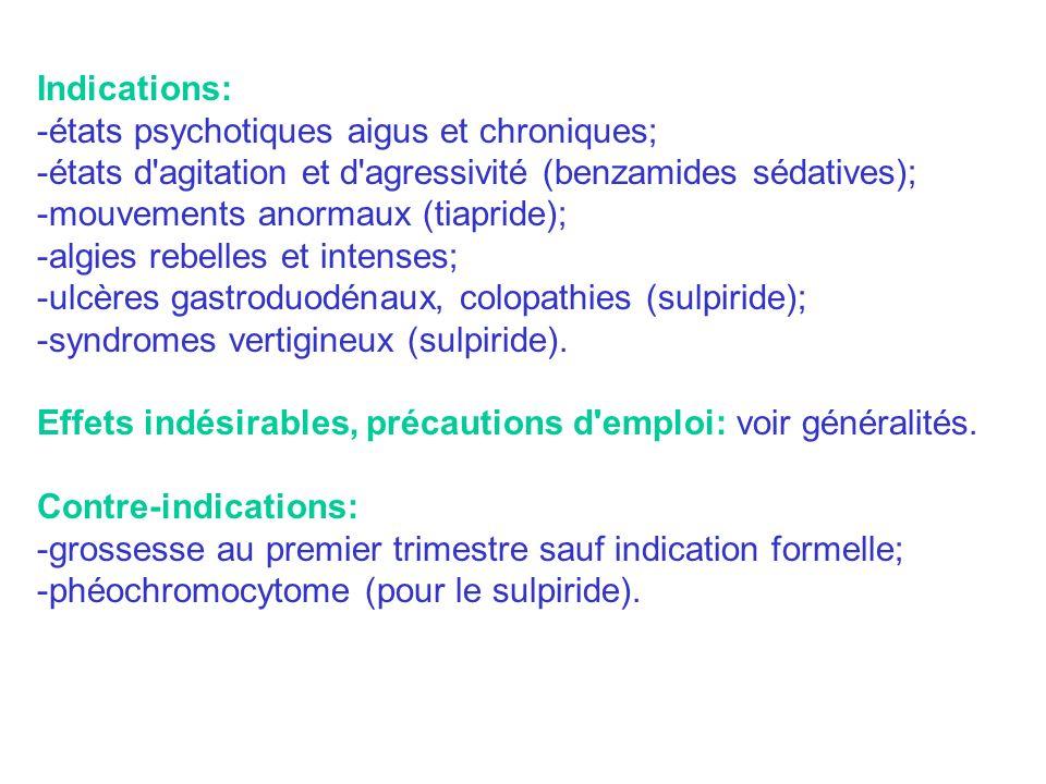 Indications: -états psychotiques aigus et chroniques; -états d'agitation et d'agressivité (benzamides sédatives); -mouvements anormaux (tiapride); -al