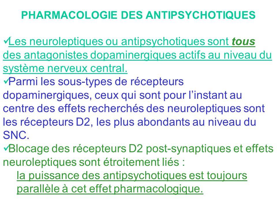 PHARMACOLOGIE DES ANTIPSYCHOTIQUES Les neuroleptiques ou antipsychotiques sont tous des antagonistes dopaminergiques actifs au niveau du système nerve