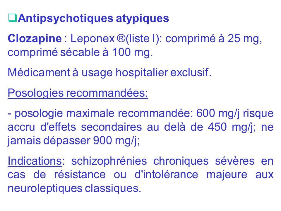Antipsychotiques atypiques Clozapine : Leponex ®(liste I): comprimé à 25 mg, comprimé sécable à 100 mg. Médicament à usage hospitalier exclusif. Posol