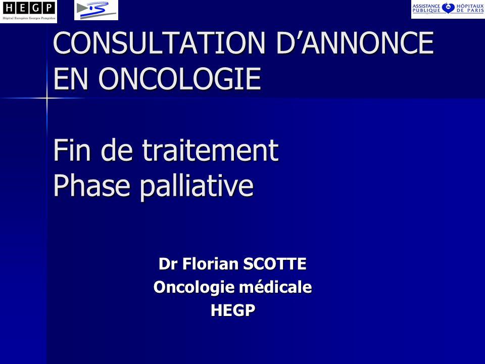 CONSULTATION DANNONCE EN ONCOLOGIE Fin de traitement Phase palliative Dr Florian SCOTTE Oncologie médicale HEGP