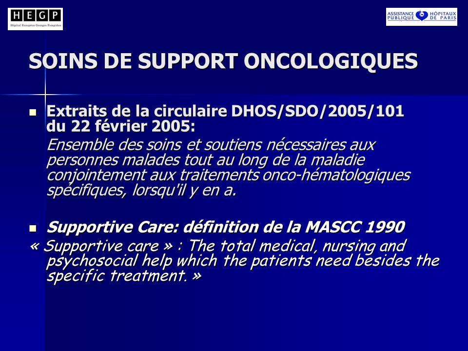 SOINS DE SUPPORT ONCOLOGIQUES Extraits de la circulaire DHOS/SDO/2005/101 du 22 février 2005: Extraits de la circulaire DHOS/SDO/2005/101 du 22 févrie