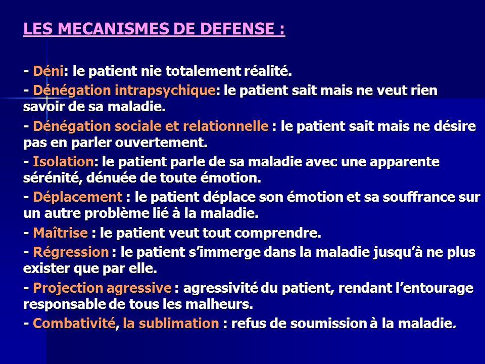 LES MECANISMES DE DEFENSE : - Déni: le patient nie totalement réalité. - Dénégation intrapsychique: le patient sait mais ne veut rien savoir de sa mal
