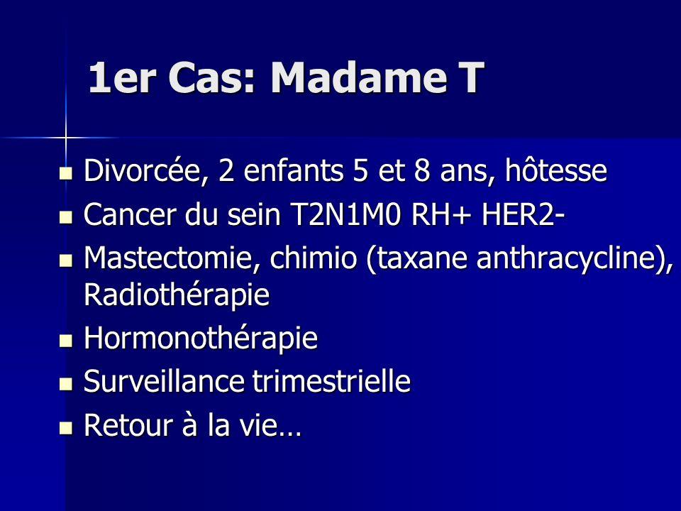 1er Cas: Madame T Divorcée, 2 enfants 5 et 8 ans, hôtesse Divorcée, 2 enfants 5 et 8 ans, hôtesse Cancer du sein T2N1M0 RH+ HER2- Cancer du sein T2N1M