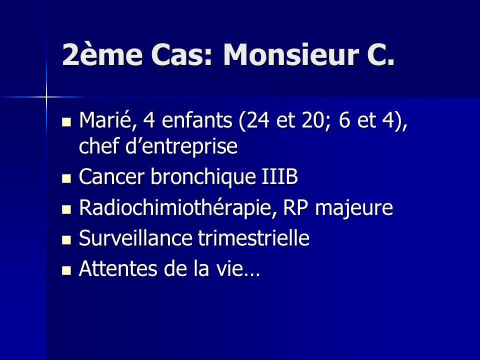 2ème Cas: Monsieur C. Marié, 4 enfants (24 et 20; 6 et 4), chef dentreprise Marié, 4 enfants (24 et 20; 6 et 4), chef dentreprise Cancer bronchique II