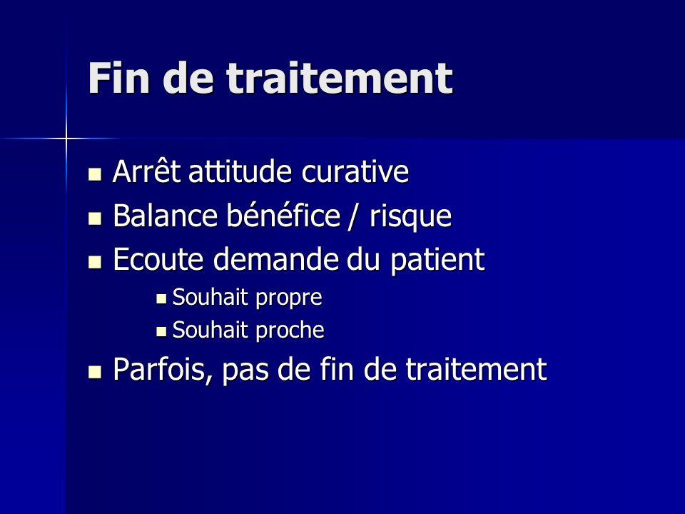 Fin de traitement Arrêt attitude curative Arrêt attitude curative Balance bénéfice / risque Balance bénéfice / risque Ecoute demande du patient Ecoute
