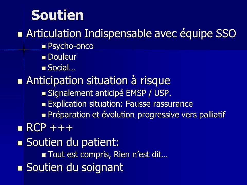 Soutien Articulation Indispensable avec équipe SSO Articulation Indispensable avec équipe SSO Psycho-onco Psycho-onco Douleur Douleur Social… Social…