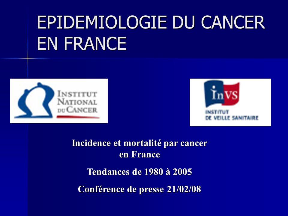 EPIDEMIOLOGIE DU CANCER EN FRANCE Incidence et mortalité par cancer en France Tendances de 1980 à 2005 Conférence de presse 21/02/08