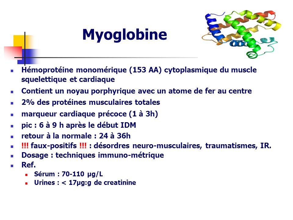 Myoglobine Hémoprotéine monomérique (153 AA) cytoplasmique du muscle squelettique et cardiaque Contient un noyau porphyrique avec un atome de fer au c