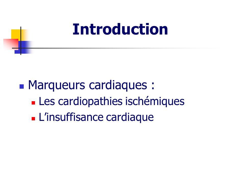 Marqueurs cardiaques : Les cardiopathies ischémiques Linsuffisance cardiaque Introduction