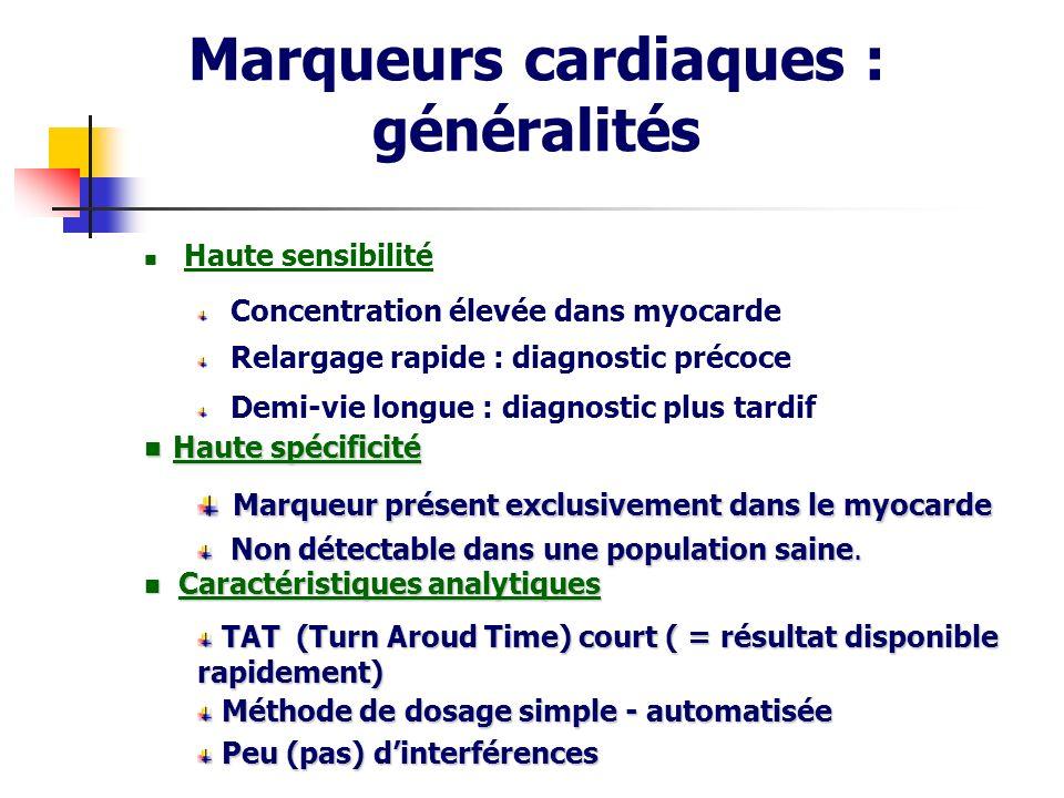 Marqueurs cardiaques : généralités Haute sensibilité Concentration élevée dans myocarde Relargage rapide : diagnostic précoce Demi-vie longue : diagno
