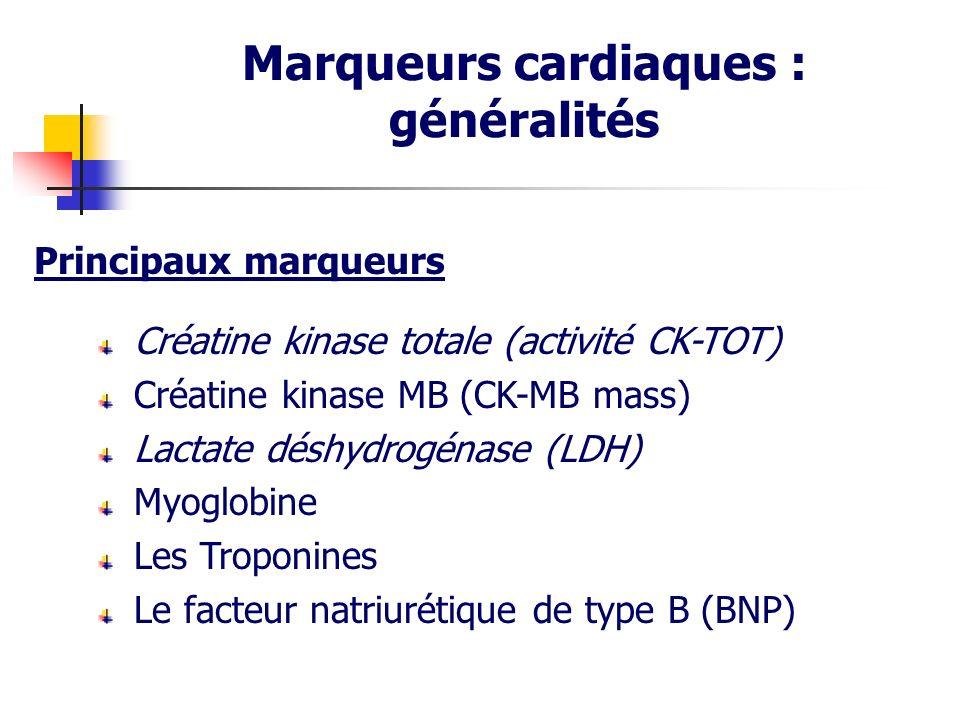 Créatine kinase totale (activité CK-TOT) Créatine kinase MB (CK-MB mass) Lactate déshydrogénase (LDH) Myoglobine Les Troponines Le facteur natriurétiq