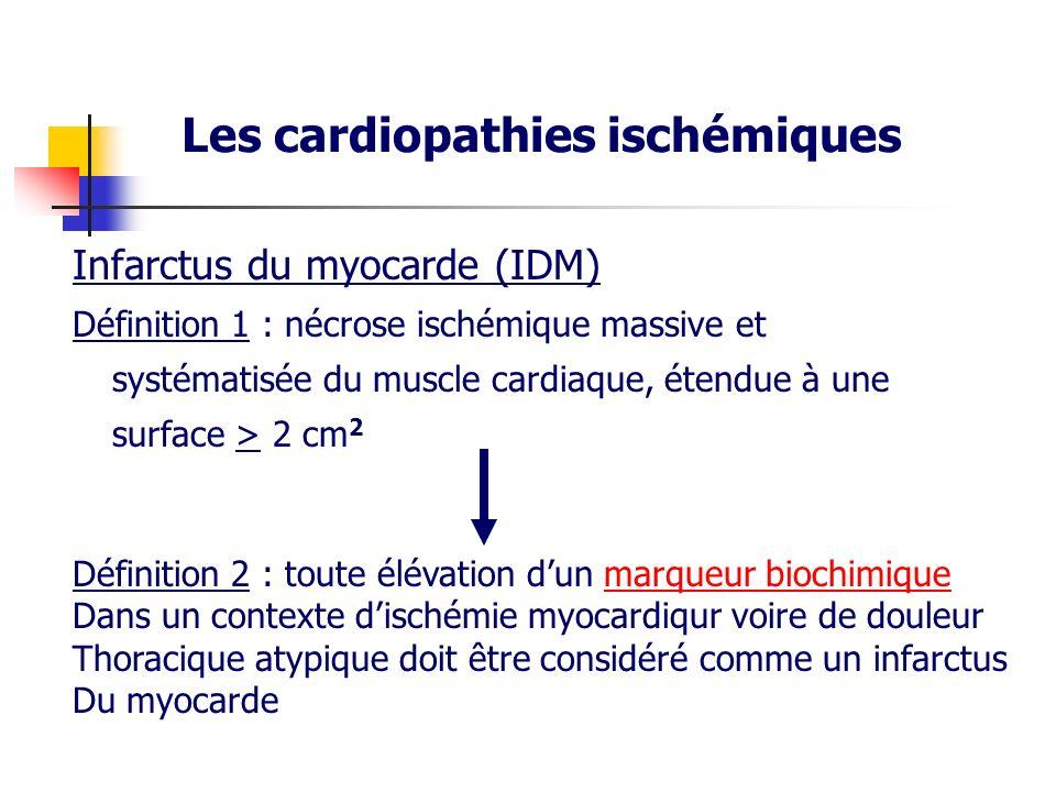 Infarctus du myocarde (IDM) Définition 1 : nécrose ischémique massive et systématisée du muscle cardiaque, étendue à une surface > 2 cm 2 Les cardiopa
