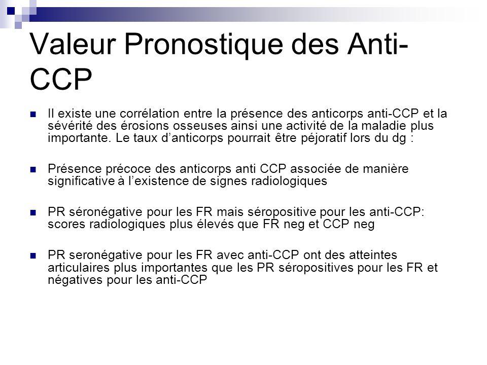 Valeur Pronostique des Anti- CCP Il existe une corrélation entre la présence des anticorps anti-CCP et la sévérité des érosions osseuses ainsi une act
