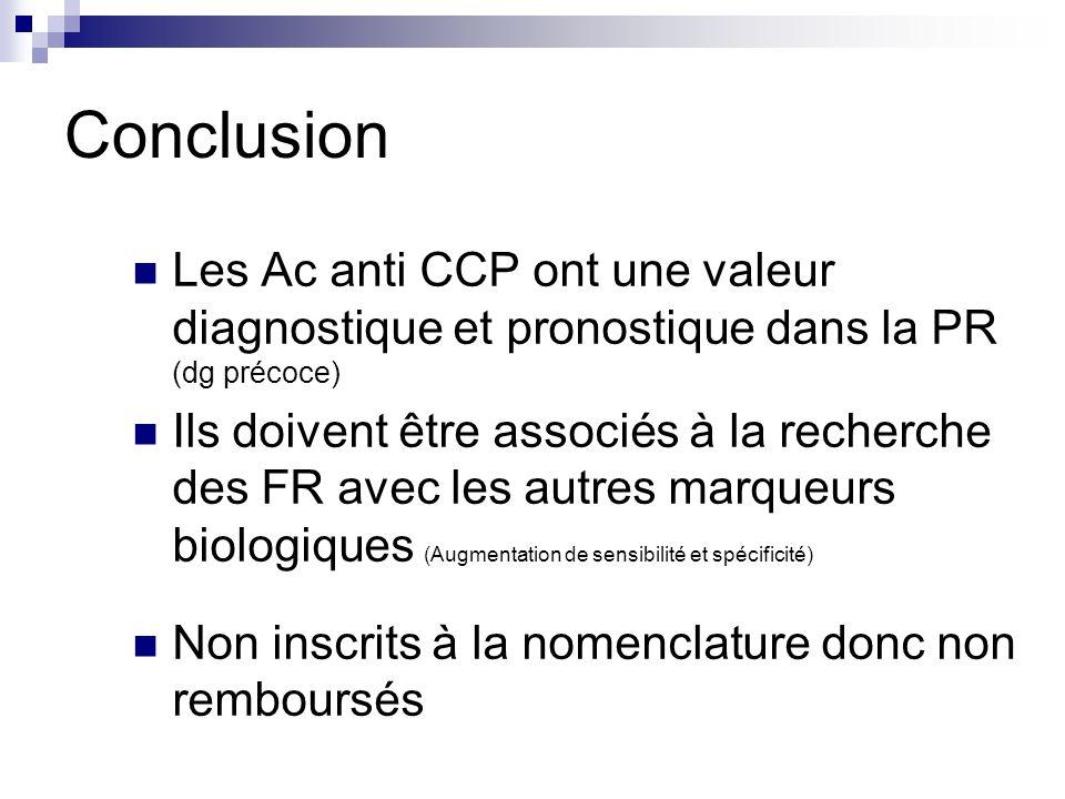 Conclusion Les Ac anti CCP ont une valeur diagnostique et pronostique dans la PR (dg précoce) Ils doivent être associés à la recherche des FR avec les
