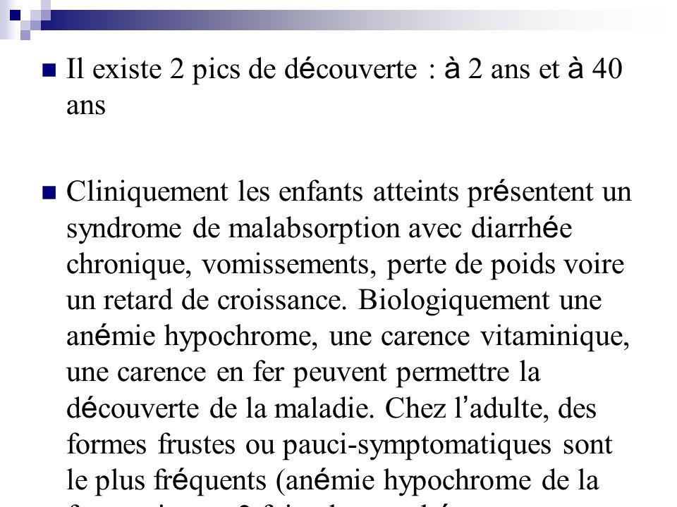 Il existe 2 pics de d é couverte : à 2 ans et à 40 ans Cliniquement les enfants atteints pr é sentent un syndrome de malabsorption avec diarrh é e chr