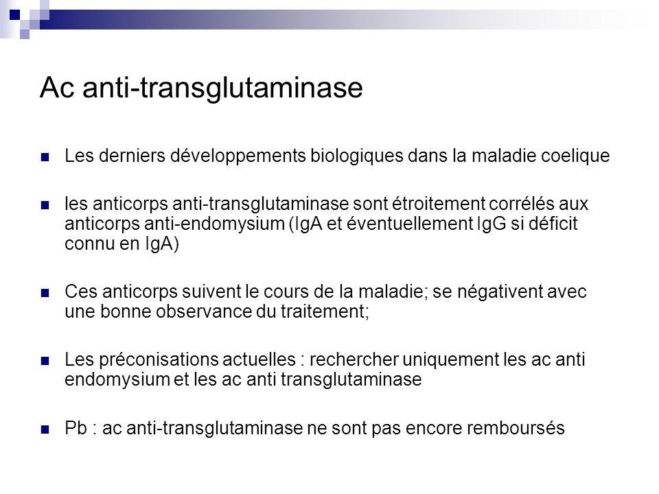 Ac anti-transglutaminase Les derniers développements biologiques dans la maladie coelique les anticorps anti-transglutaminase sont étroitement corrélé
