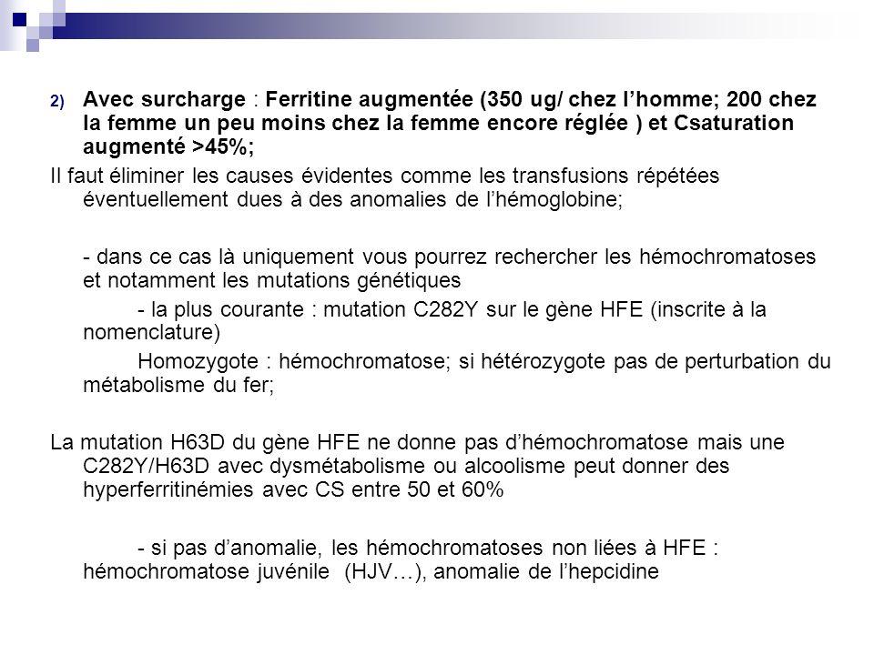 2) Avec surcharge : Ferritine augmentée (350 ug/ chez lhomme; 200 chez la femme un peu moins chez la femme encore réglée ) et Csaturation augmenté >45