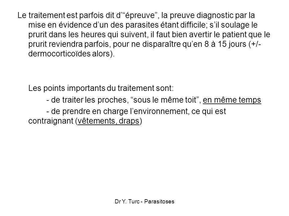 Dr Y. Turc - Parasitoses Le traitement est parfois dit dépreuve, la preuve diagnostic par la mise en évidence dun des parasites étant difficile; sil s