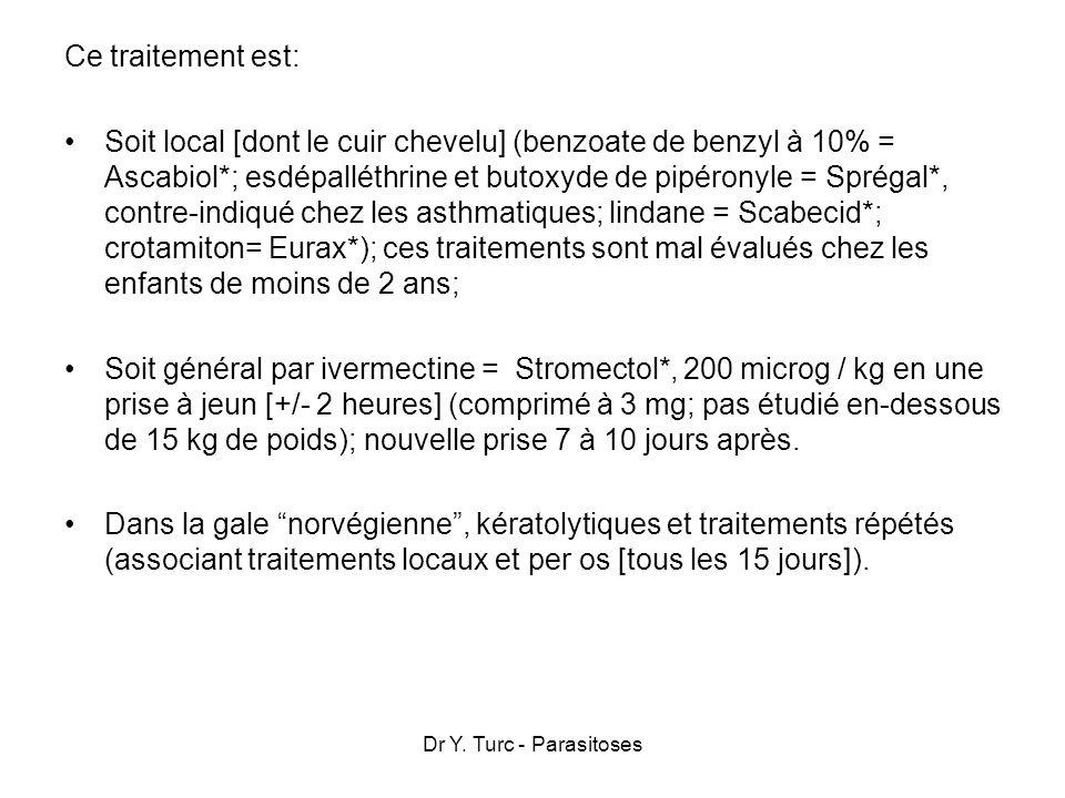 Dr Y. Turc - Parasitoses Ce traitement est: Soit local [dont le cuir chevelu] (benzoate de benzyl à 10% = Ascabiol*; esdépalléthrine et butoxyde de pi