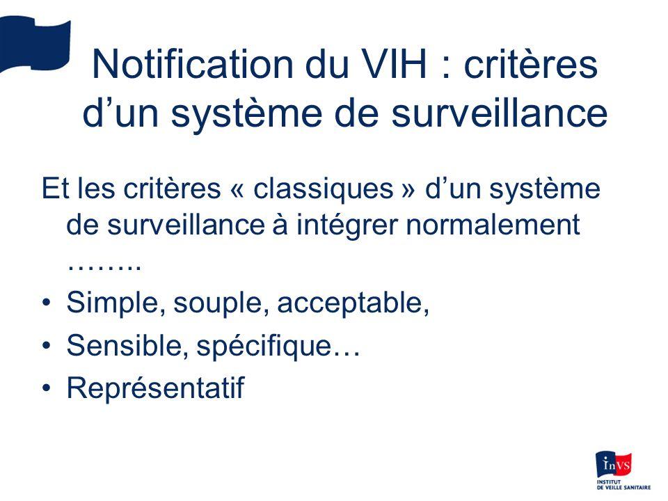 Notification du VIH : critères dun système de surveillance Et les critères « classiques » dun système de surveillance à intégrer normalement ……..