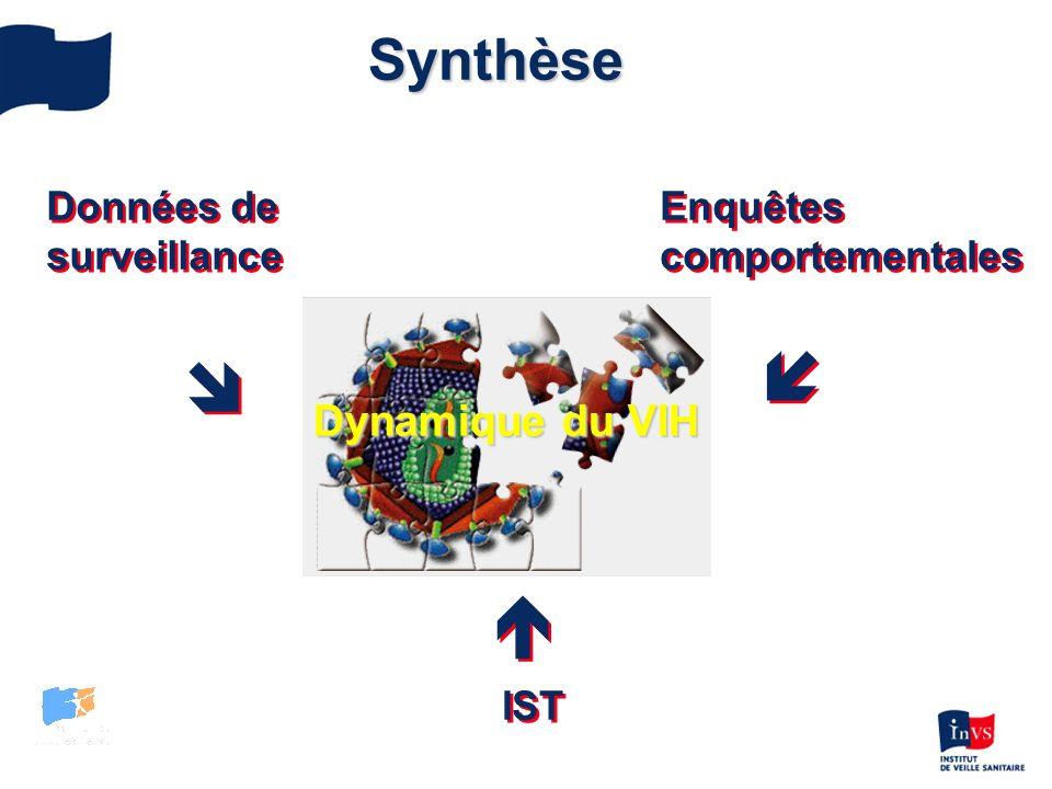 Données de surveillance Données de surveillance Enquêtes comportementales Enquêtes comportementales IST Synthèse Dynamique du VIH