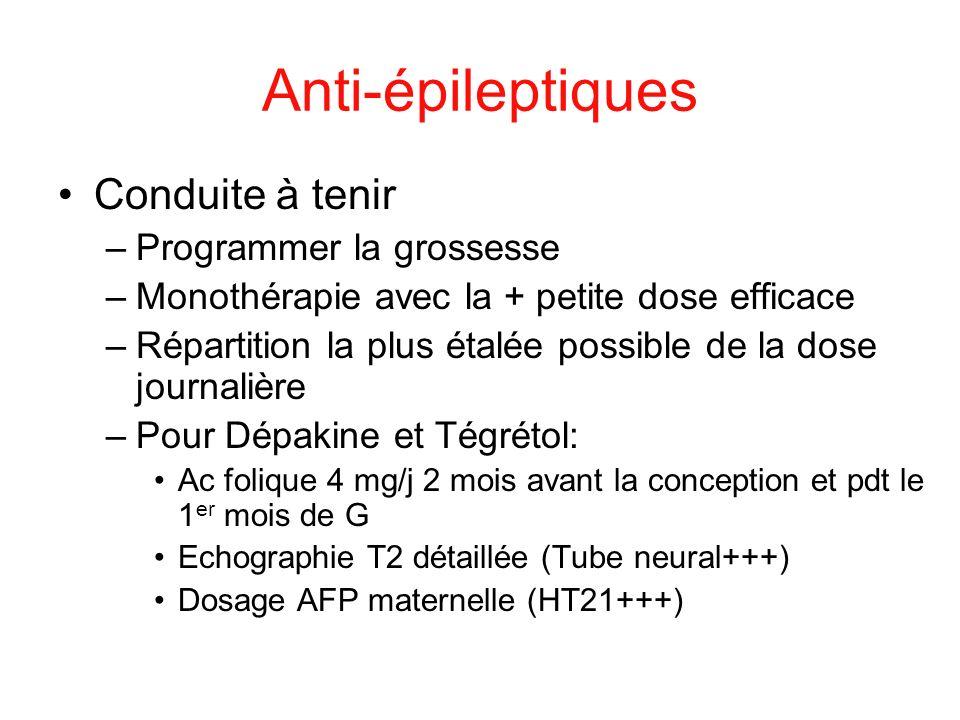 Anti-épileptiques Conduite à tenir –Programmer la grossesse –Monothérapie avec la + petite dose efficace –Répartition la plus étalée possible de la do