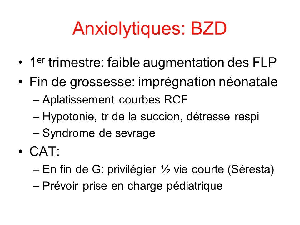 Anxiolytiques: BZD 1 er trimestre: faible augmentation des FLP Fin de grossesse: imprégnation néonatale –Aplatissement courbes RCF –Hypotonie, tr de l