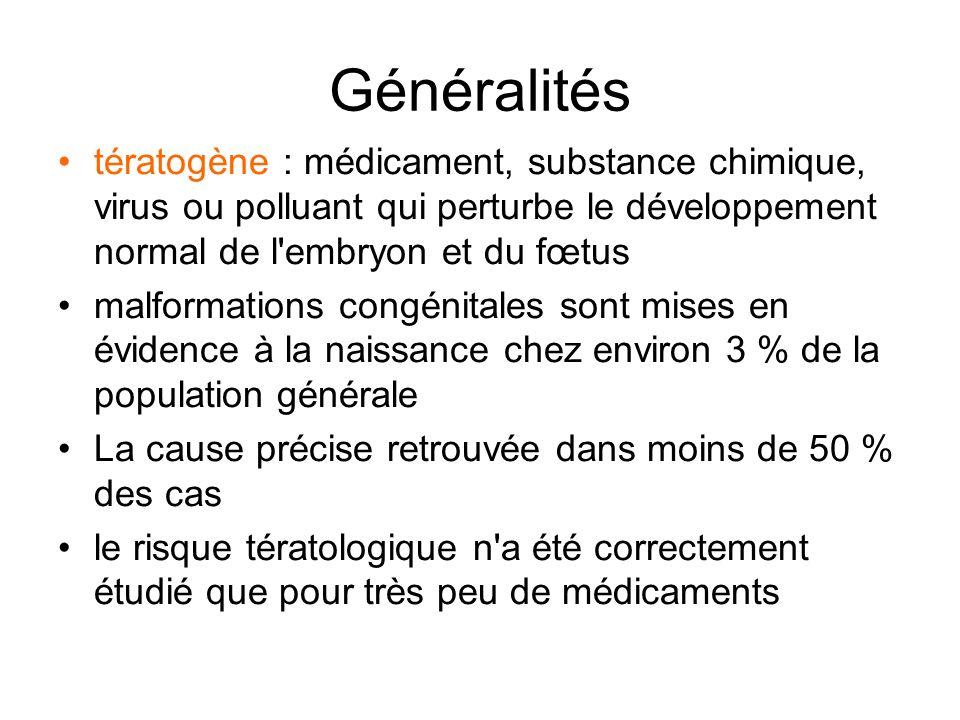 Généralités tératogène : médicament, substance chimique, virus ou polluant qui perturbe le développement normal de l'embryon et du fœtus malformations