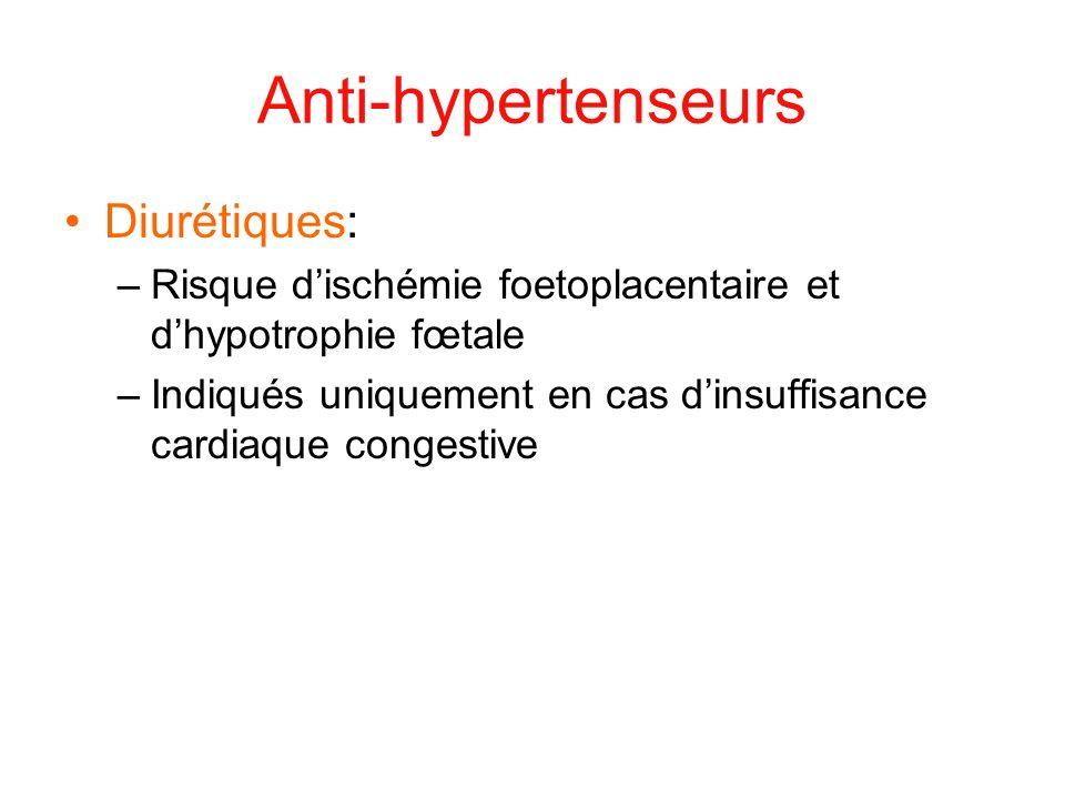 Anti-hypertenseurs Diurétiques: –Risque dischémie foetoplacentaire et dhypotrophie fœtale –Indiqués uniquement en cas dinsuffisance cardiaque congesti