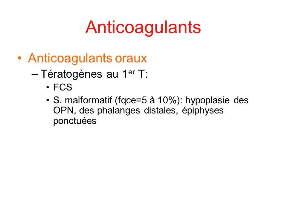 Anticoagulants Anticoagulants oraux –Tératogènes au 1 er T: FCS S. malformatif (fqce=5 à 10%): hypoplasie des OPN, des phalanges distales, épiphyses p