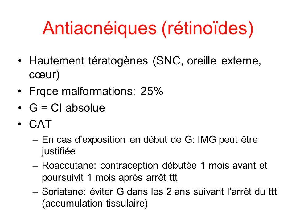 Antiacnéiques (rétinoïdes) Hautement tératogènes (SNC, oreille externe, cœur) Frqce malformations: 25% G = CI absolue CAT –En cas dexposition en début