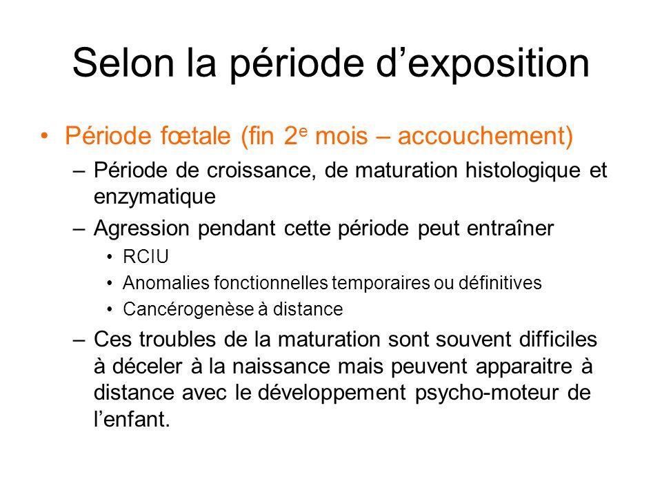 Selon la période dexposition Période fœtale (fin 2 e mois – accouchement) –Période de croissance, de maturation histologique et enzymatique –Agression
