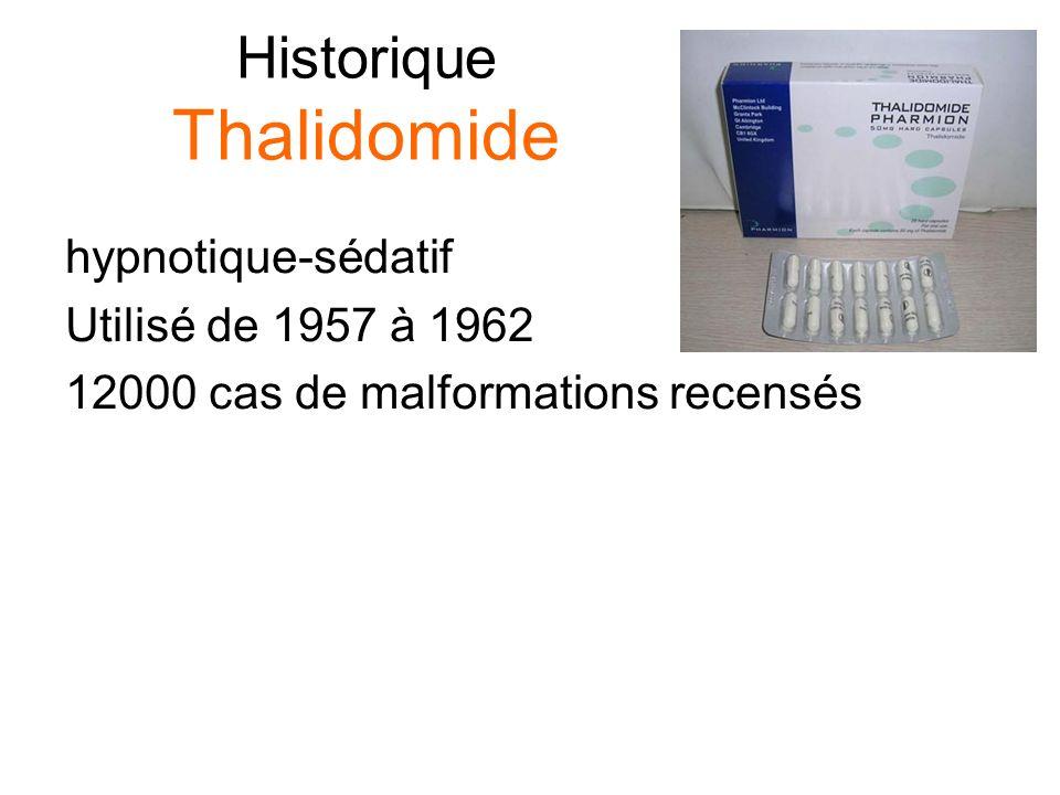 Historique Thalidomide hypnotique-sédatif Utilisé de 1957 à 1962 12000 cas de malformations recensés