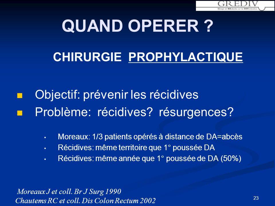 23 QUAND OPERER .CHIRURGIE PROPHYLACTIQUE Objectif: prévenir les récidives Problème: récidives.