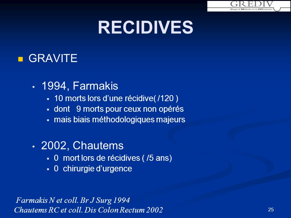 25 RECIDIVES GRAVITE 1994, Farmakis 10 morts lors dune récidive( /120 ) dont 9 morts pour ceux non opérés mais biais méthodologiques majeurs 2002, Chautems 0 mort lors de récidives ( /5 ans) 0 chirurgie durgence Farmakis N et coll.