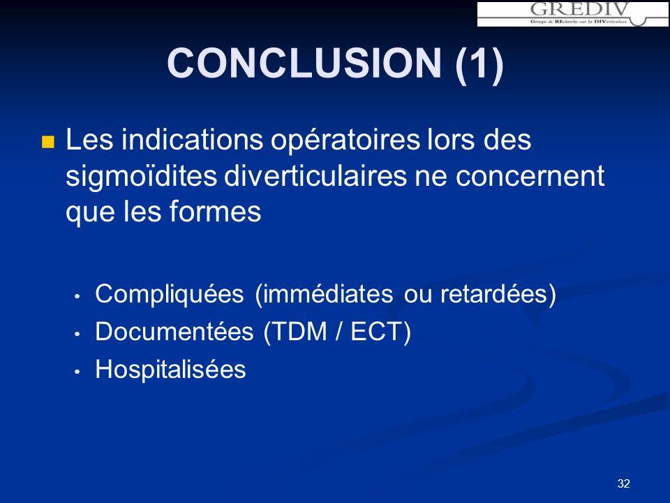 32 CONCLUSION (1) Les indications opératoires lors des sigmoïdites diverticulaires ne concernent que les formes Compliquées (immédiates ou retardées) Documentées (TDM / ECT) Hospitalisées