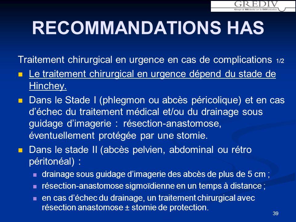 RECOMMANDATIONS HAS Traitement chirurgical en urgence en cas de complications 1/2 Le traitement chirurgical en urgence dépend du stade de Hinchey.