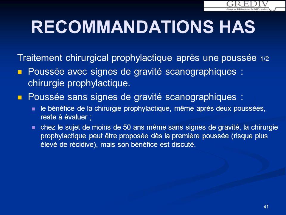 RECOMMANDATIONS HAS Traitement chirurgical prophylactique après une poussée 1/2 Poussée avec signes de gravité scanographiques : chirurgie prophylactique.