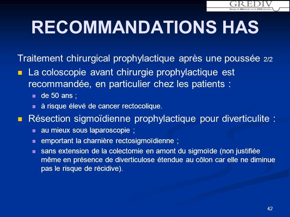 RECOMMANDATIONS HAS Traitement chirurgical prophylactique après une poussée 2/2 La coloscopie avant chirurgie prophylactique est recommandée, en particulier chez les patients : de 50 ans ; à risque élevé de cancer rectocolique.