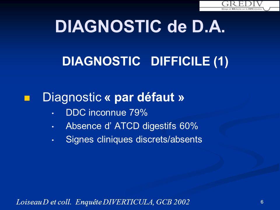 DIAGNOSTIC DIFFICILE (1) Diagnostic « par défaut » DDC inconnue 79% Absence d ATCD digestifs 60% Signes cliniques discrets/absents DIAGNOSTIC de D.A.
