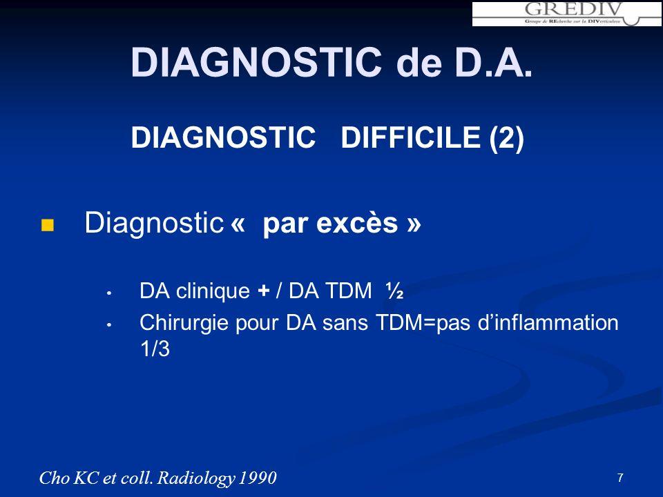 DIAGNOSTIC de D.A. DIAGNOSTIC DIFFICILE (2) Diagnostic « par excès » DA clinique + / DA TDM ½ Chirurgie pour DA sans TDM=pas dinflammation 1/3 Cho KC