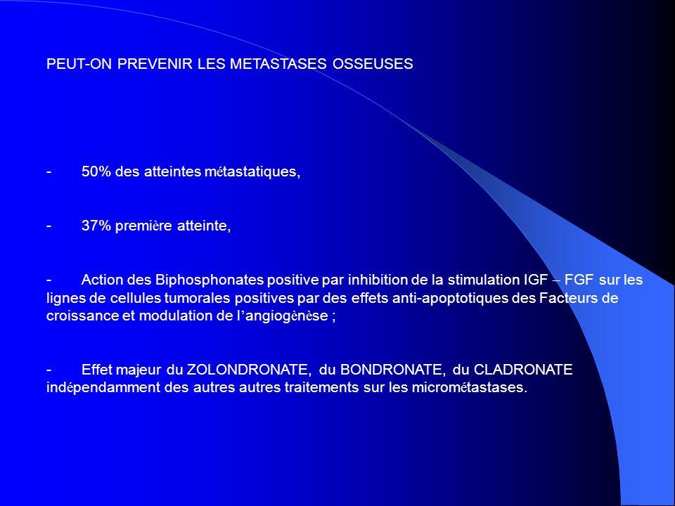 PEUT-ON PREVENIR LES METASTASES OSSEUSES - 50% des atteintes m é tastatiques, - 37% premi è re atteinte, - Action des Biphosphonates positive par inhi